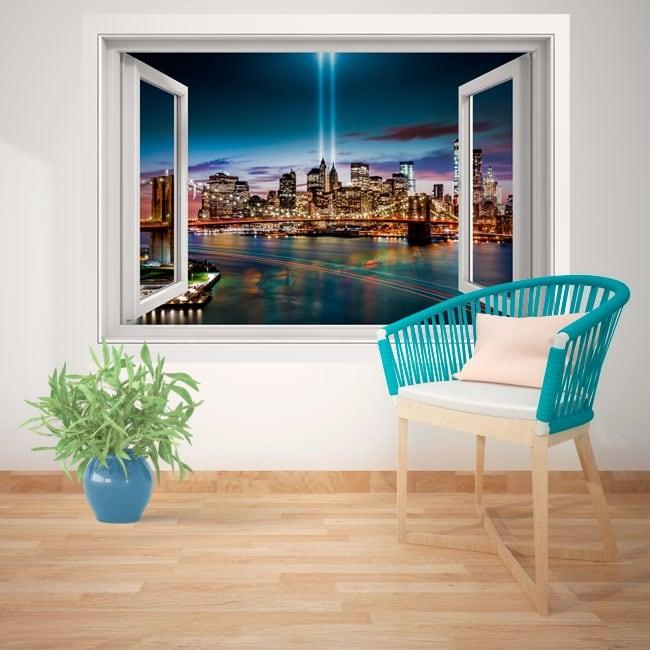 Vinilos de pared ventana Nueva York 3D