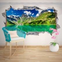 Vinilos decorativos lago y montañas nevadas 3D