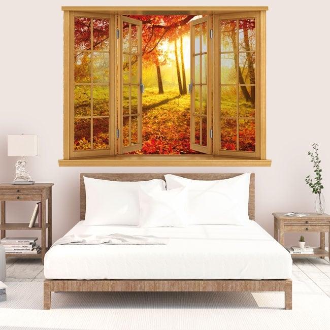 Vinilos atardecer árboles otoño ventana 3D