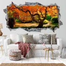 Vinilos paredes árbol jardín Asiático 3D