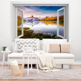 Vinilos decorativos lago Bachalpsee Alpes Suizos 3D