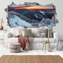 Vinilos decorativos amanecer en las montañas 3D