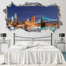 Vinilos skyline Nueva York puente de Brooklyn 3D