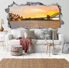 Vinilos puesta de sol bahía de Sídney 3D