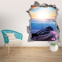 Vinilos de pared playa al atardecer 3D