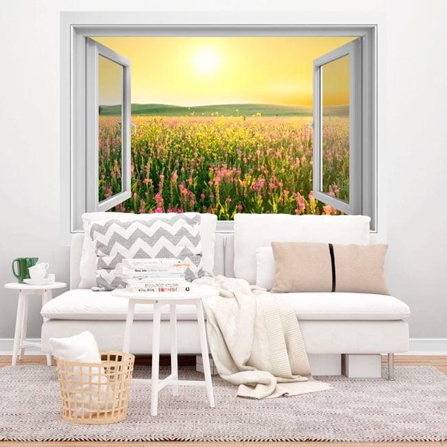 Vinilos ventana atardecer flores campo 3D