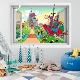 Vinilos infantiles castillo Príncipe y Princesa 3D