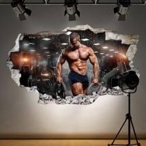 Vinilos para gimnasios hombre con pesas 3D