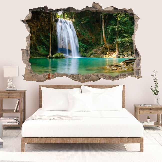 Vinilos de pared cascadas de tailandia 3d for Vinilos decorativos pared 3d