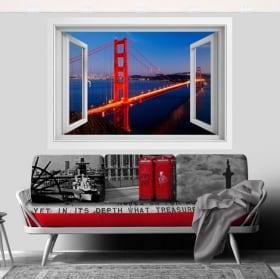 Vinilos puente Golden Gate ventana 3D