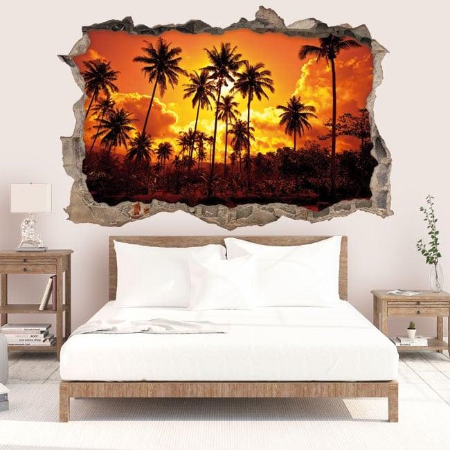 Vinilos decorativos sol y palmeras en la playa 3D