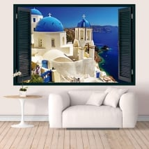 Vinilos Grecia Santorini ventana 3D