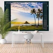 Vinilos decorativos atardecer en Hawái ventana 3D