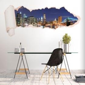 Vinilos skyline Nueva York papel rasgado 3D