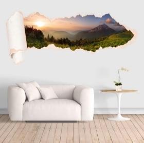 Vinilos puesta de sol montañas papel rasgado 3D