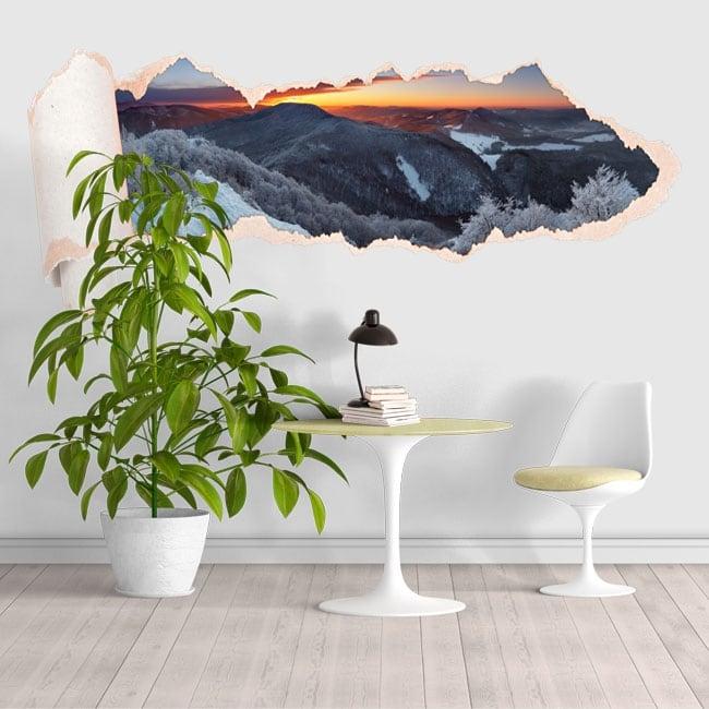 Vinilos atardecer montañas nevadas papel rasgado 3D