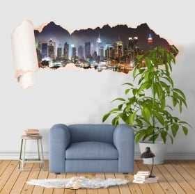 Vinilos Nueva York Manhattan papel rasgado 3D