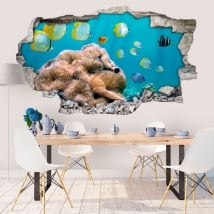 Vinilos paredes peces en el mar 3D