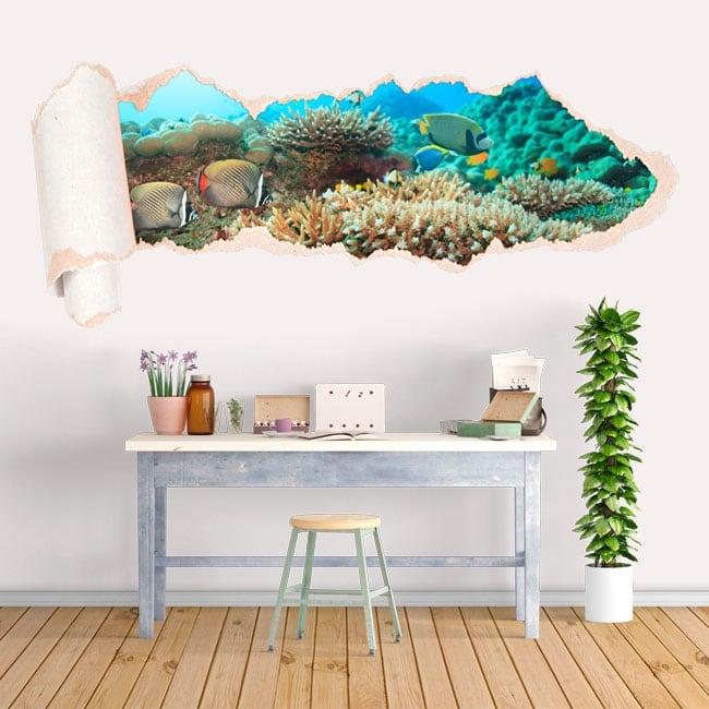Vinilos peces arrecife de coral papel rasgado 3D