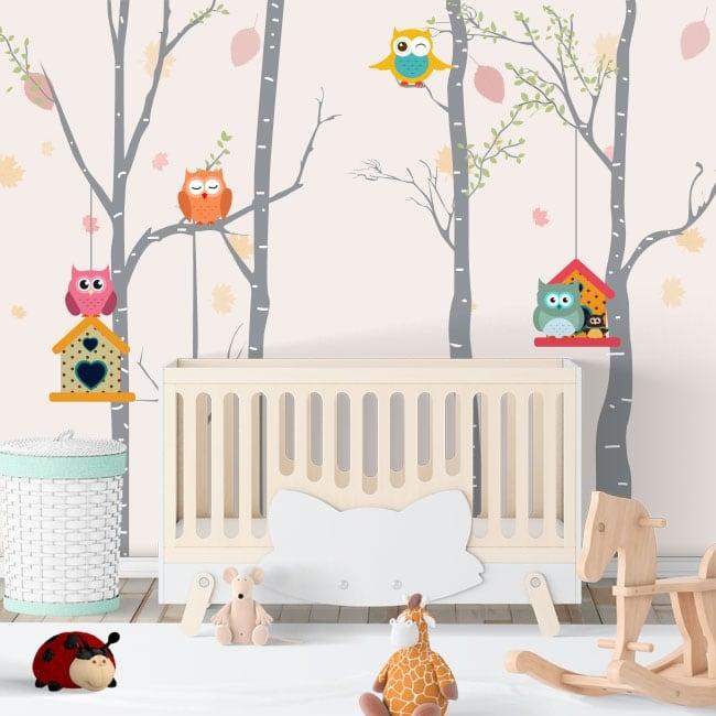 Vinilos infantiles búhos en los árboles
