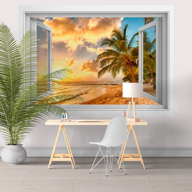 Vinilos paredes atardecer en la playa barbados 3d