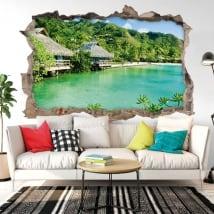Vinilos decorativos paredes bungalows playa 3d