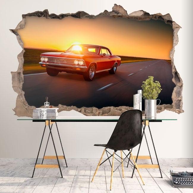 Vinilos decorativos paredes auto retro 3d for Vinilos decorativos pared 3d