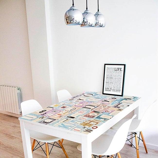 Vinilos decorativos mesas collage letras