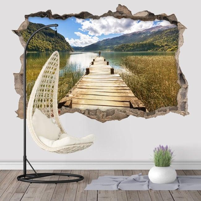 Vinilos paredes pasarela en el lago 3d