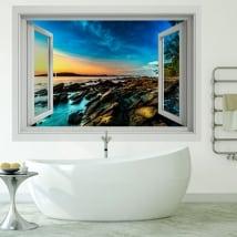 Vinilos paredes 3d amanecer en la costa del mar