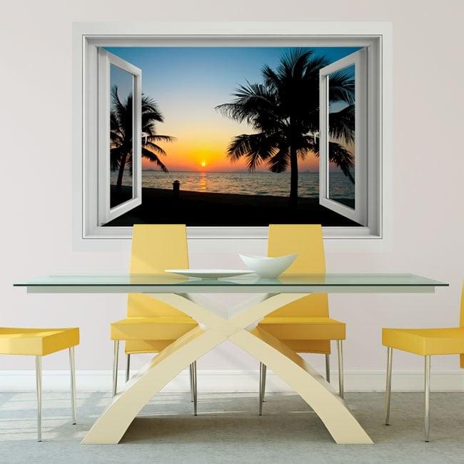 Vinilos decorativos puesta de sol en la playa ventana 3d