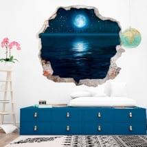 Vinilos paredes luna estrellas y mar 3d