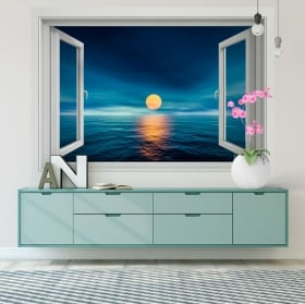 Vinilos decorativos paredes atardecer en el mar 3d