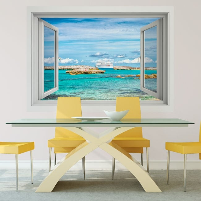 Vinilos paredes crucero en las bahamas 3d
