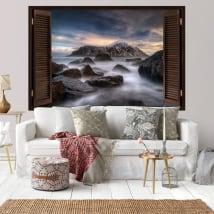 Vinilos paredes islas lofoten noruega ventanas 3d