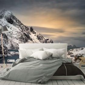 Fotomurales vinilos atardecer islas lofoten noruega