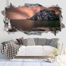 Vinilos paredes atardecer islas lofoten noruega 3d