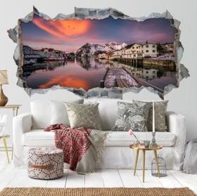 Vinilos decorativos 3d atardecer islas lofoten noruega