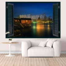Vinilos pared islas lofoten noruega ventana 3d