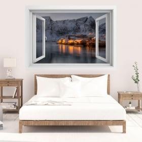 Vinilos islas lofoten noruega ventana 3d