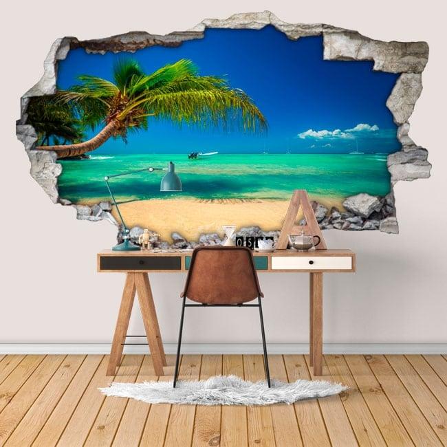 Vinilos paredes playas república dominicana 3d