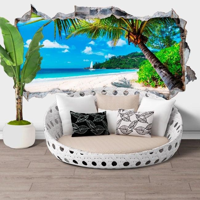 Vinilos de pared jamaica palmera en la playa agujero 3d