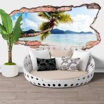 Vinilos paredes palmera islas seychelles agujero 3d