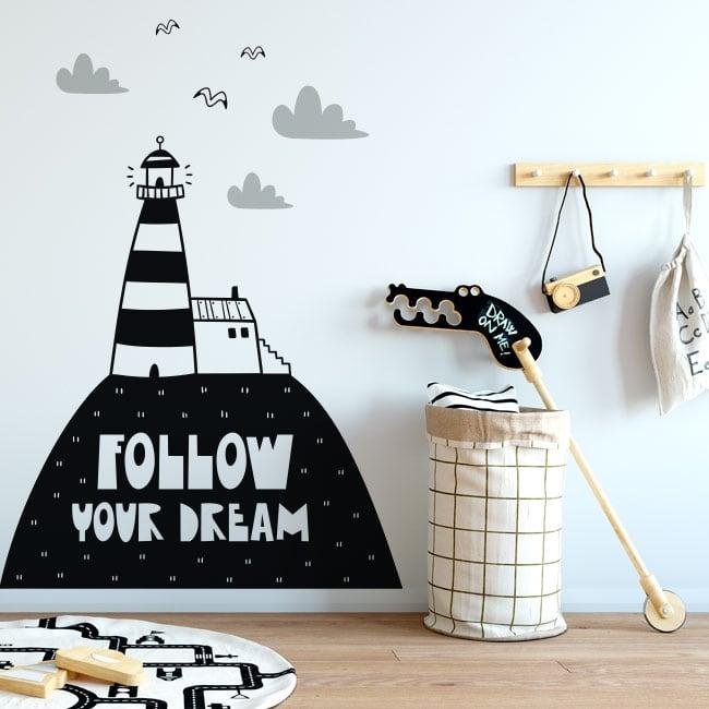 Vinilos decorativos frase follow your dreams
