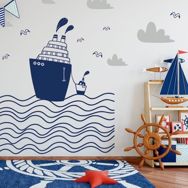 Vinilos infantiles barcos en el mar