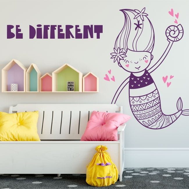 Vinilos decorativos paredes sirena be different