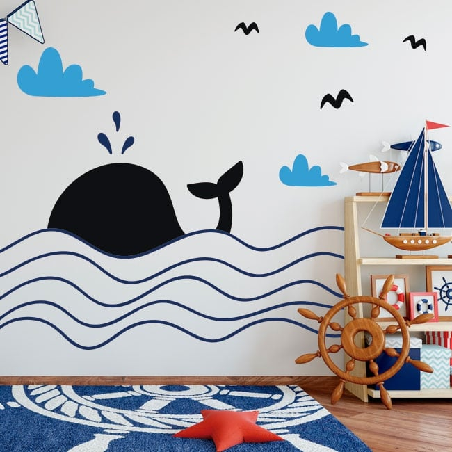 Vinilos decorativos infantiles ballena en el mar