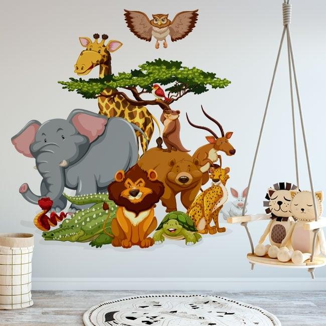 Vinilos decorativos infantiles animales del zoo