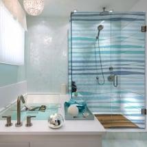 Vinilos mamparas del baño trazos azules
