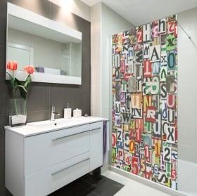 Vinilos mamparas letras collage